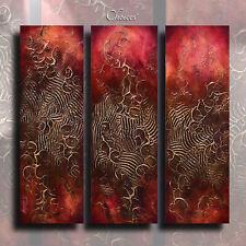 Textured Art Abstract Painting Modern Gold Contemporary Original M.Lang 3 panel