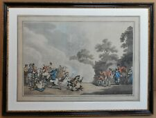A Field Day in Hyde Park. Original Etching & Aquatint by Thomas Rowlandson 1789