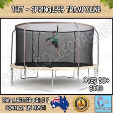 14ft - Springless Trampoline - Steel Flex Metal Ring Enclosure - Free Postage -
