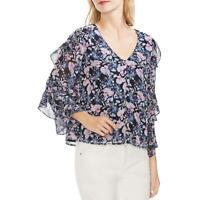 Vince Camuto Womens Navy Floral Print Shirt Button-Down Top Blouse XXL BHFO 9265