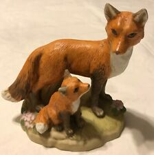 """Vintage Homco Mother and Baby Red Fox 5"""" Tall Porcelain Ceramic Figurine"""