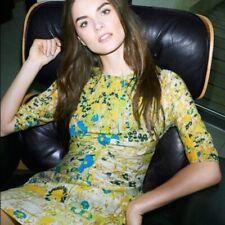 Rare Whistles Bella Yellow Cobalt Print Body-con Dress ASO Royal Uk 10 USA 6