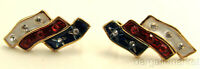 Red White Blue Enamel & Crystal USA Flag Post Earrings