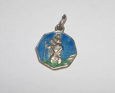 ST CHRISTOPHER Blue & Green Enamel Guilloche Miniature SILVER Vintage Medal