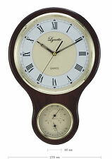 wooden wall clock with thermograph, hygrometer display 904
