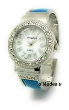 Ladies Metal Bangle Cuff Fashion Watch with Stones Pearl Dial Wincci WB82