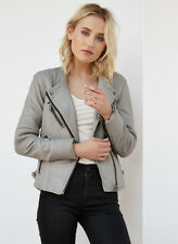 Blank NYC Vegan Leather Gray Jacket Size Small  #1735