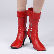1:6 Red Mid-calf Boots High Heeled Boots Shoes for 12'' Phicen Female Body
