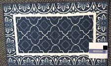 "PRINTED KITCHEN RUG (nonskid)(20""x32"") BLUE INDIGO TRELLIS w/Flower borders, OW"