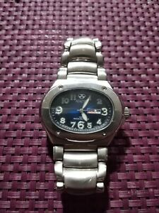 mens reactor orbit #85003 stainless watch with blue face