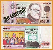 URUGUAY 5,000 5000 NUEVOS PESOS 1989 UNC P.68A PREFIX -A-