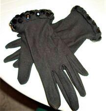 Vtg Dressy Black Gloves w/Black Faceted Stone Cuffs Wrist Length Sz Medium