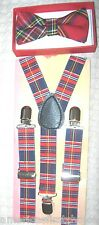 Kids Boys Girls Red Blue Plaid Adjustable Suspenders &Red Blue Plaid Bow Tie-New