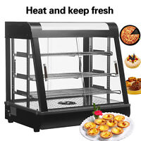 """27""""Commercial Food Warmer Court Heat Food pizza Display Warmer Cabinet Glass USA"""