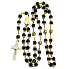 """Rosary Beads Black Crystal Gold Plated INRI Beaded Necklace Miraculous Medal 24"""""""
