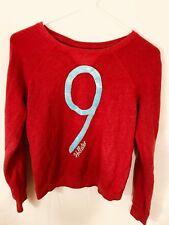 Women's XS hollister California 1922 Red Long Sleeve # 9 sequin sweater 006