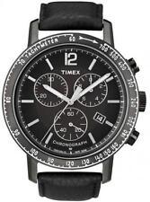 Orologio Uomo Timex Chronograph T2N566 Pelle Acciaio Datario Nero originale