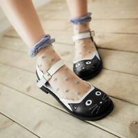 Plus Size Block Heels Lolita Mary Jane Cute Cat Womens Shoes Cosplay T-strap