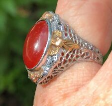 Vintage 14K Filigree White and Yellow Gold Carnelian Ring size 4