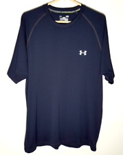 Under Armour HeatGear Shirt | Navy Blue Short Sleeve Polyester Mens Large