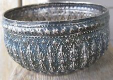 Antique Songkran Thai Siam Water Festival Sterling Silver Repousse Bowl 145g