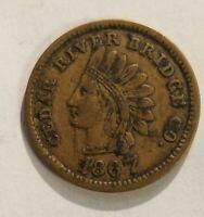 CEDAR RAPIDS,IOWA TRANSIT TOKEN,CEDAR RIVER BRIDGE CO. 1867  L616