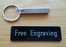 FREE ENGRAVING (PERSONALIZED) Silver Aluminum Bar Block Tag Key Ring / Keychain