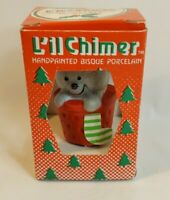 Vintage Jasco Lil Chimer Porcelain Christmas Tree Bell Ornament Mouse in Box