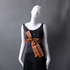 50s 60s Vintage Malcolm Starr Black Satin Party Evening Dress Ball Gown sz S 2 4