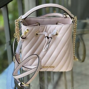 NWT Michael Kors Suri Small Bucket Crossbody Leather Bag Purse Powder Blush Pink