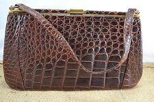 VINTAGE FASSBENDER BROWN CROCODILE SKIN HANDBAG 1950s leather bag