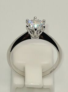 925 STERLING SILVER 18K WHITE GOLD PLATED 1CT 6.5MM MOISSANITE DIAMOND SOLITAIRE