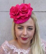 Cerise Hot Pink Rose Flower Fascinator Pillbox Hat Cocktail Races Velvet 4714