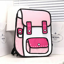 Hot Women Girls 3D Jump Style 2D Drawing From Cartoon Paper Comic Backpack Bag