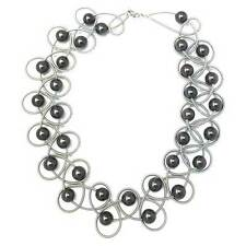 STUNNING LUSTROUS BLACK FRESH WATER PEARL SILVER PIANO WIRE NETTING NECKLACE