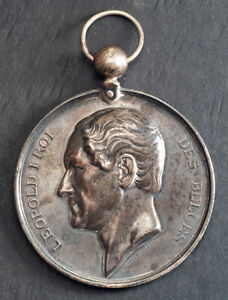 """1867, Belgium, Leopold I. Silver """"Musical Theory"""" Award Medal. Polished VF!"""