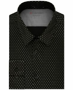 Calvin Klein Mens Dress Shirt Black Small S 14-14 1/12 Slim Fit Geo Foil $79 098