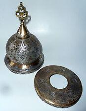 Mosque Lamp 19thC Pierced Brass, Silver Inlay Islamic Persian Cairoware Mamluk
