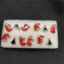 6 Pairs Mini Cute Xmas Tree Socks Hats Ear Studs Women Christmas Earring Jewelry
