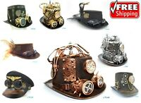 Steampunk Top Hat Prop Halloween Costume Cosplay Party W/ Goggles and Gauge
