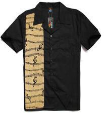Men's, Rockabilly shirts, Hot Rod, Rock n roll, Tattoo, Music note, tan stripe