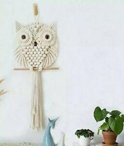 Achart Owl Macrame Wall Hanging Decor Boho Handmade Woven Art Ornament Pediments