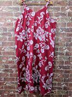 Ulla Popken 24 / 26 Plus Size Maxi Dress A-Line Fit Floral Adjustable Strap Red