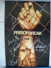 Poster Prison Break autographe 5 signatures Miller Purcell Callies Fichtner Knep