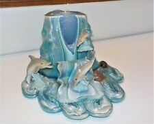 Vintage Decorative Carved Candle Resin Dolphins Embedded Blue Teal Artistic