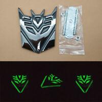 Metal Self-luminous Front Grille Transformers Decepticon Badges Emblems Logo