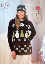 "Stylecraft Christmas DK Knitting pattern Ladies Jumper Hat 28/30""- 44/46""  9029"