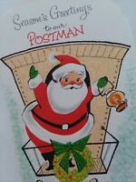 UNUSED Vtg Santa MAILMAN Seasons Greetings to POSTMAN CHRISTMAS CARD Old Stock