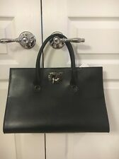 Jimmy Choo Riley Medium Black Calfskin Leather Tote Handbag Gunmetal Accent