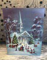 1 Vintage Victorian Church Scene Village Petticoat Sunshine Christmas Cards NOS